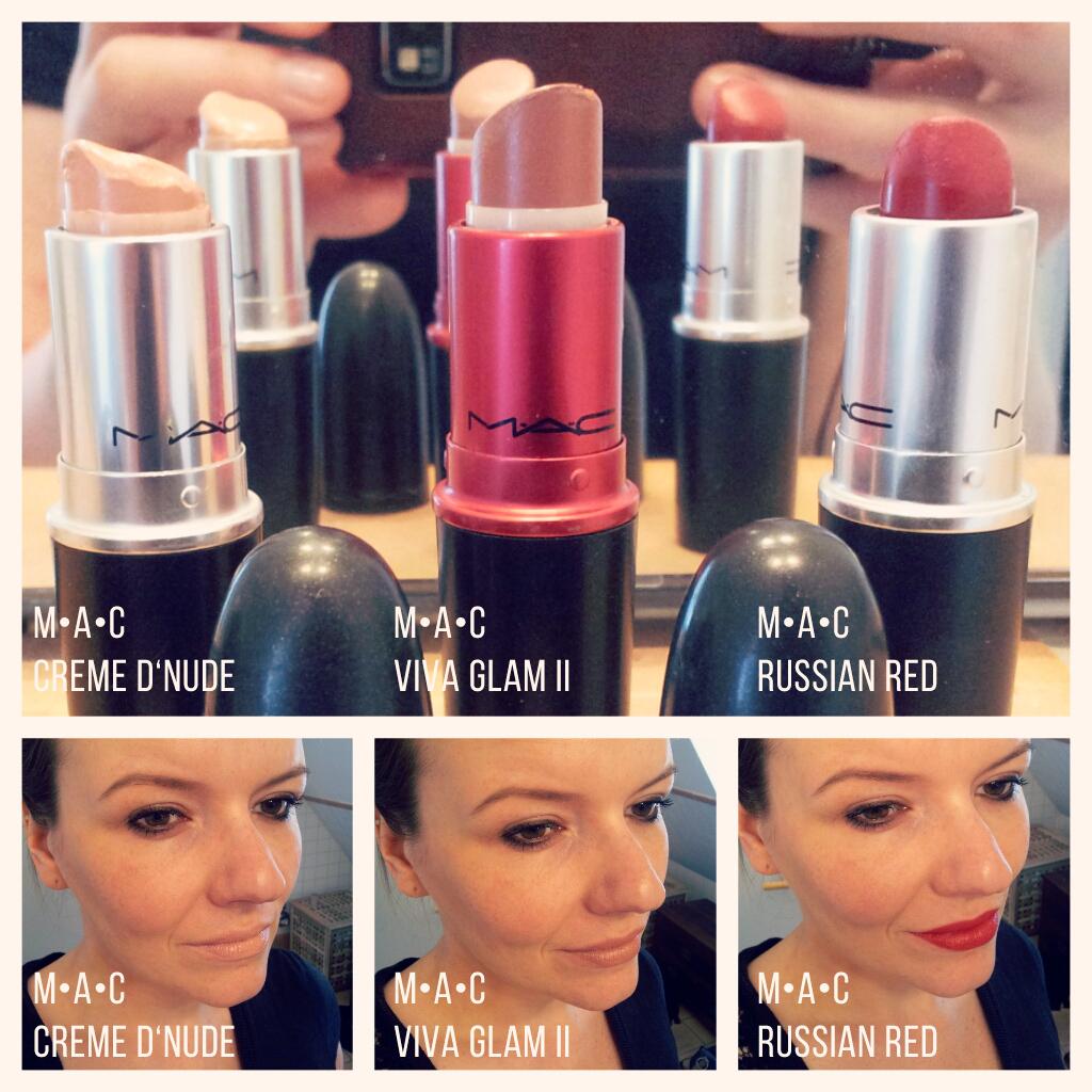 MAC Creme d'Nude, MAC Viva Glam II, MAC Russian Red
