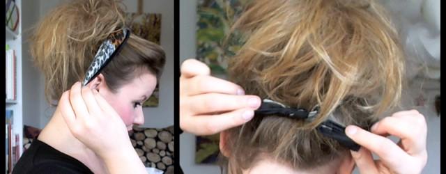 Schnelle messy hair Frisur mit Dutt und Halstuch
