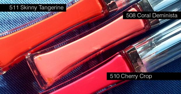 Robina Hood Produkttest: L'Oréal Glam Matte 6 hour Lipglosse:      GLAM MATTE Coral Deminista 508     GLAM MATTE Cherry Crop 510     GLAM MATTE Skinny Tangerine 511