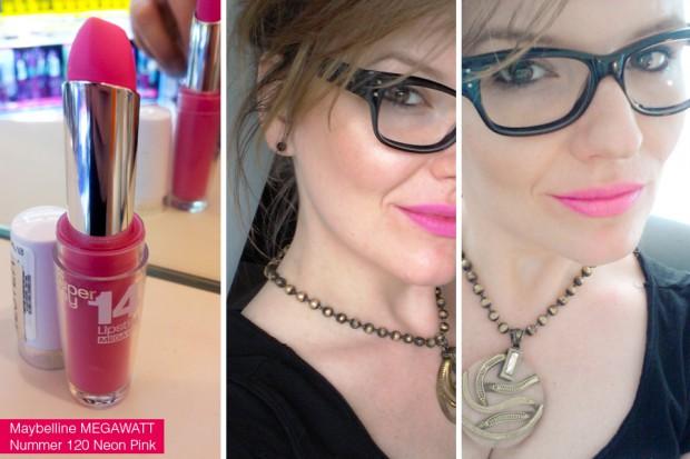 Tragefoto Maybelline Superstay MEGAWATT Lippenstift 120 Neon Pink