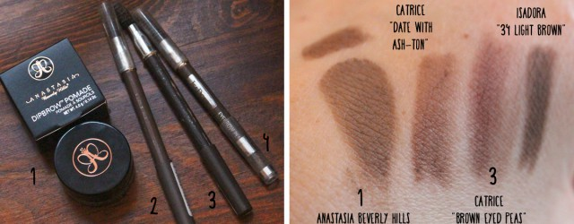 "Swatches und Vergleich Anastasia Beverly Hills Dipbrow Pomade in ""Taupe"", Catrice ""Date with Ash-ton"", Catrice ""Brown eyed Peas"" und Isadora ""34 Light Brown"""