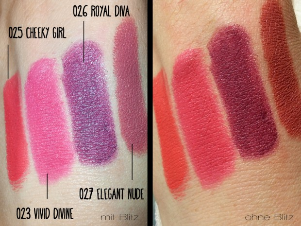 Swatches - Neu seit März 2015 ASTOR Soft Sensation Lipcolor Butters mit mattem Finish: 025 Cheeky Girl, 023 Vivid Divine, 026 Royal Diva, 027 Elegant Nude