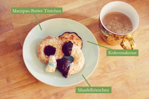 Kokosmakronen, Mandelhörnchen und Marzipan-Butter-Törtchen vom Spezialitätenhaus