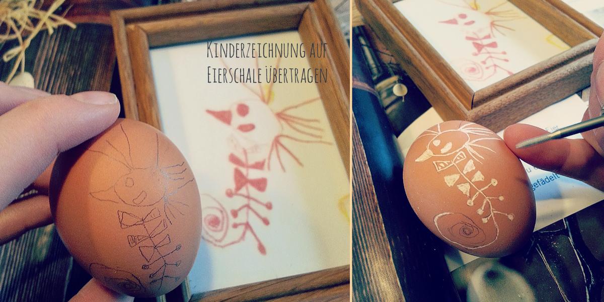 DIY Osterei Kinderzeichnung mit Fräser malen / zeichnen