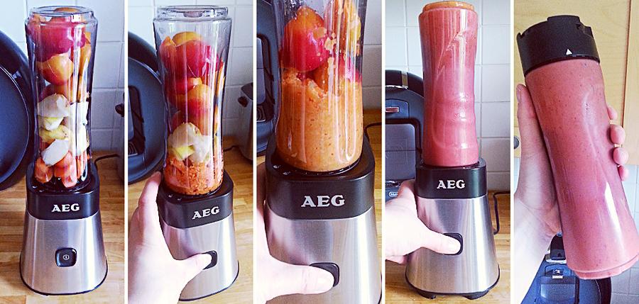 Himbeer-Bananen-Smoothie mit dem AEG PerfectMix SB 2400 Mini Mixer