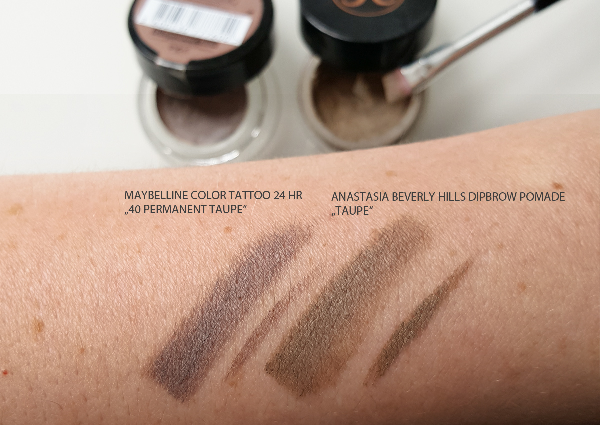 Anastasia Beverly Hills Dipbrow Pomade Taupe versus Maybelline Color Tattoo Permanent Taupe