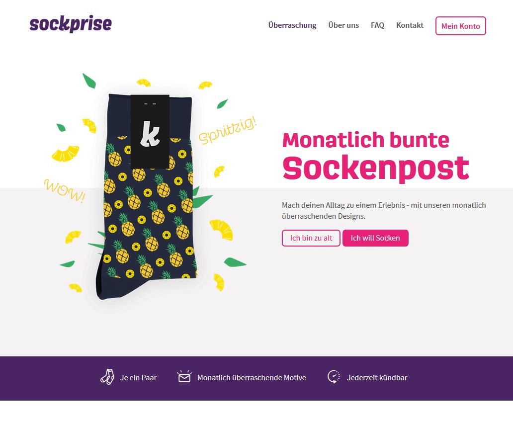 sockprise: monatlich bunte Sockenpost Socken-Abo