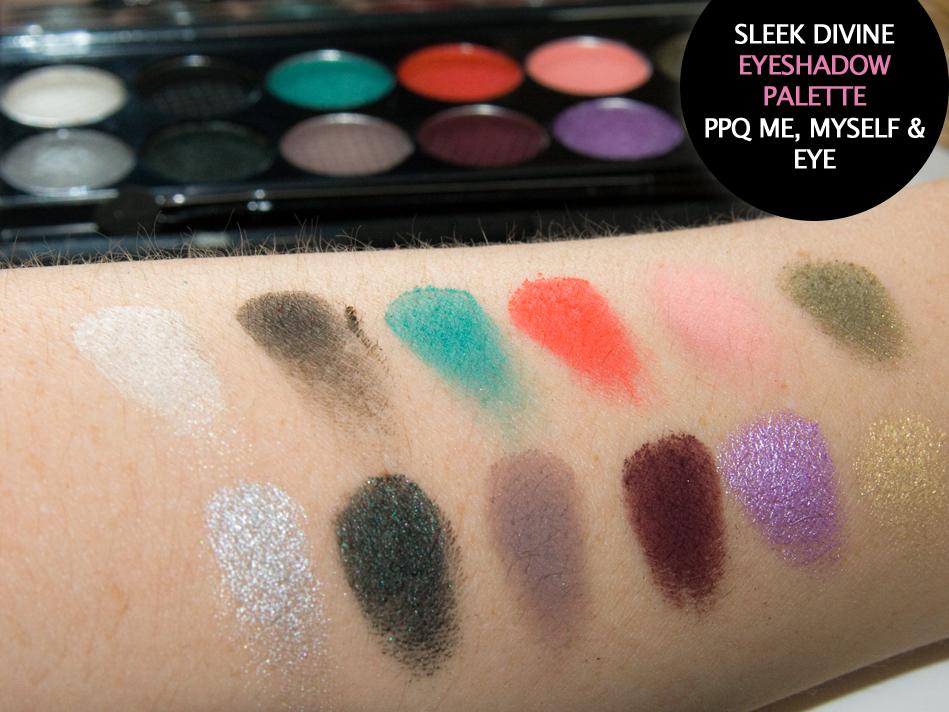 Hier kommen die Farben realistischer rüber - Swatches der Lidschatten aus der Sleek Makeup Lidschatten Palette - i-Divine PPQ Me, Myself & Eye