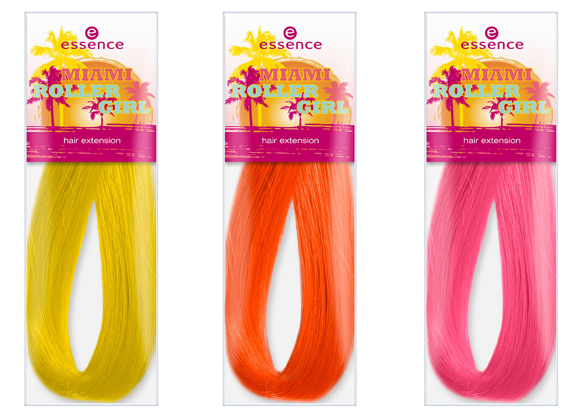 "Produktfoto: essence ""miami roller girl hair extensions in den Farben 01 bienvenido a miami, 02 miami heat und 03 miami p´ink. Um 1,49 €*."