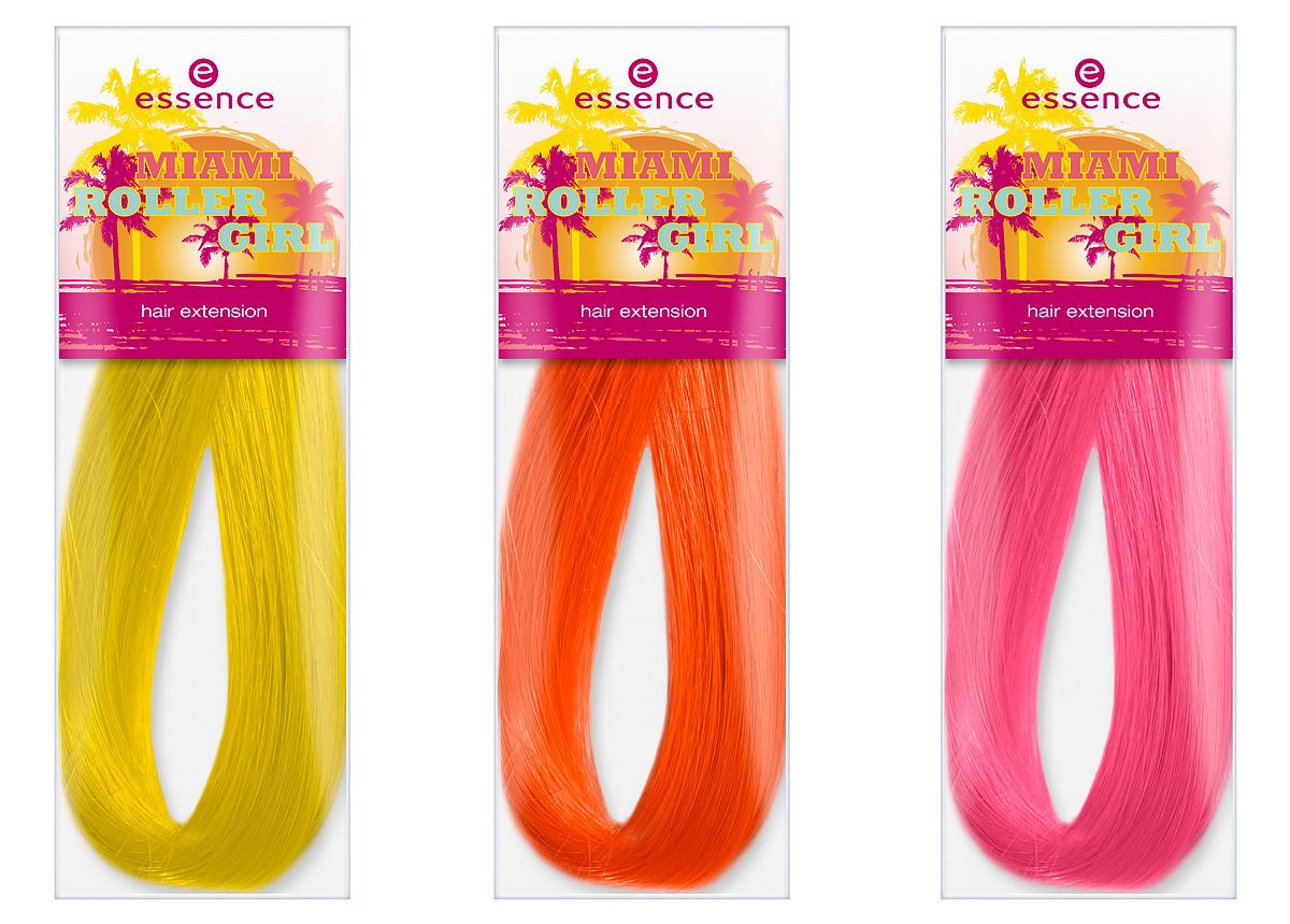 """Produktfoto: essence """"miami roller girl hair extensions in den Farben 01 bienvenido a miami, 02 miami heat und 03 miami p´ink. Um 1,49 €*."""