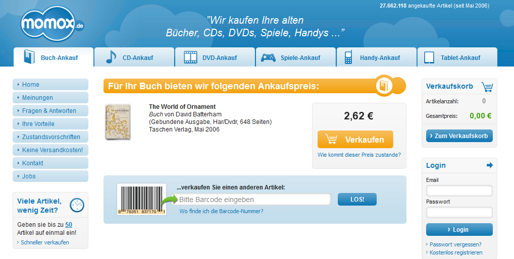 """Das Buch """"World of Ornament"""" kostet im Handel ca. 150 Euro. Momox bietet mir grandiose 2,62 € dafür an."""