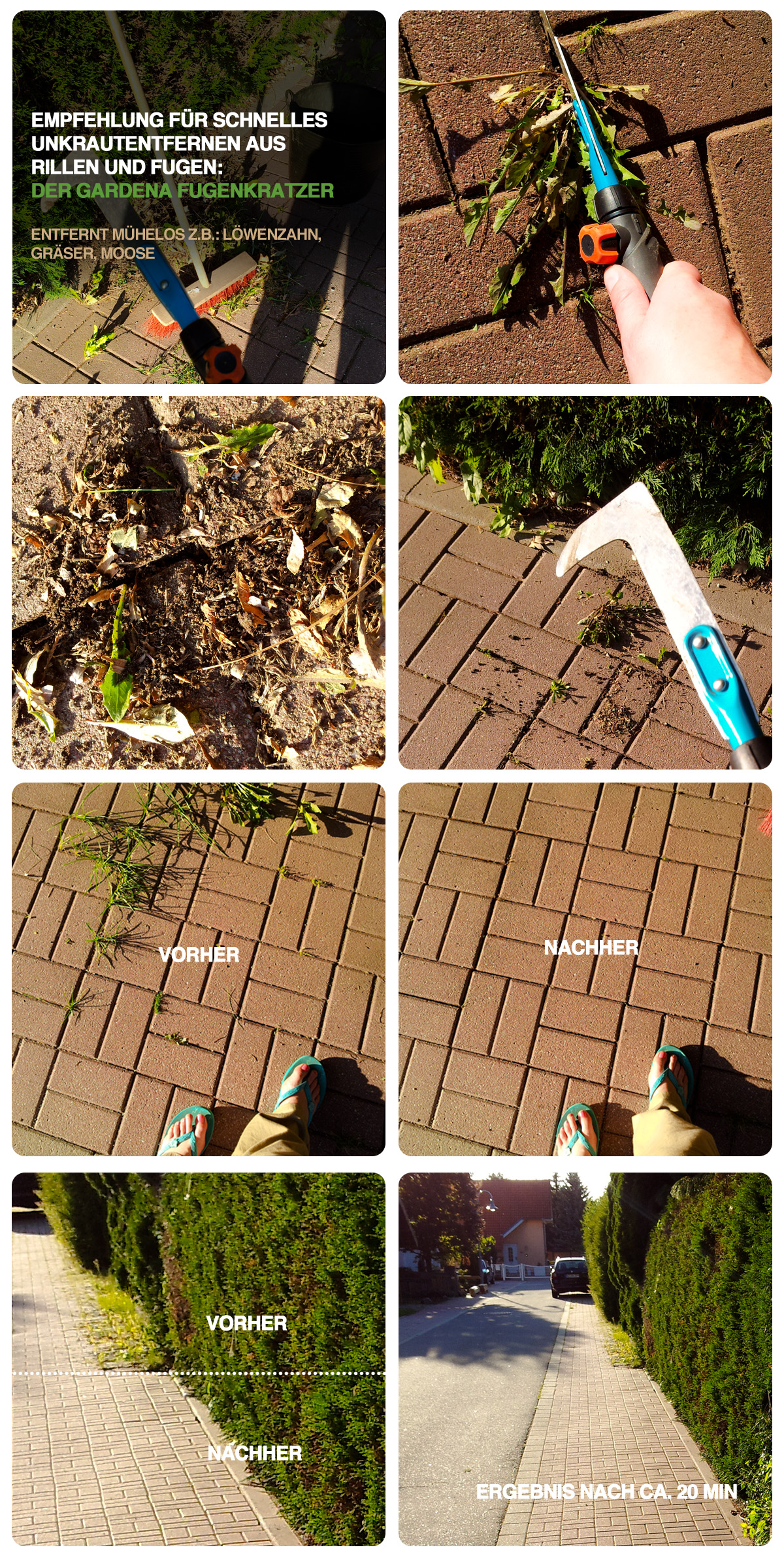 Meine Werkzeug-Empfehlung, wenn es darum geht, Moos, Unkraut und Löwenzahn aus Pflasterfugen und Rillen zu entfernen: Der Gardena Fugenkratzer