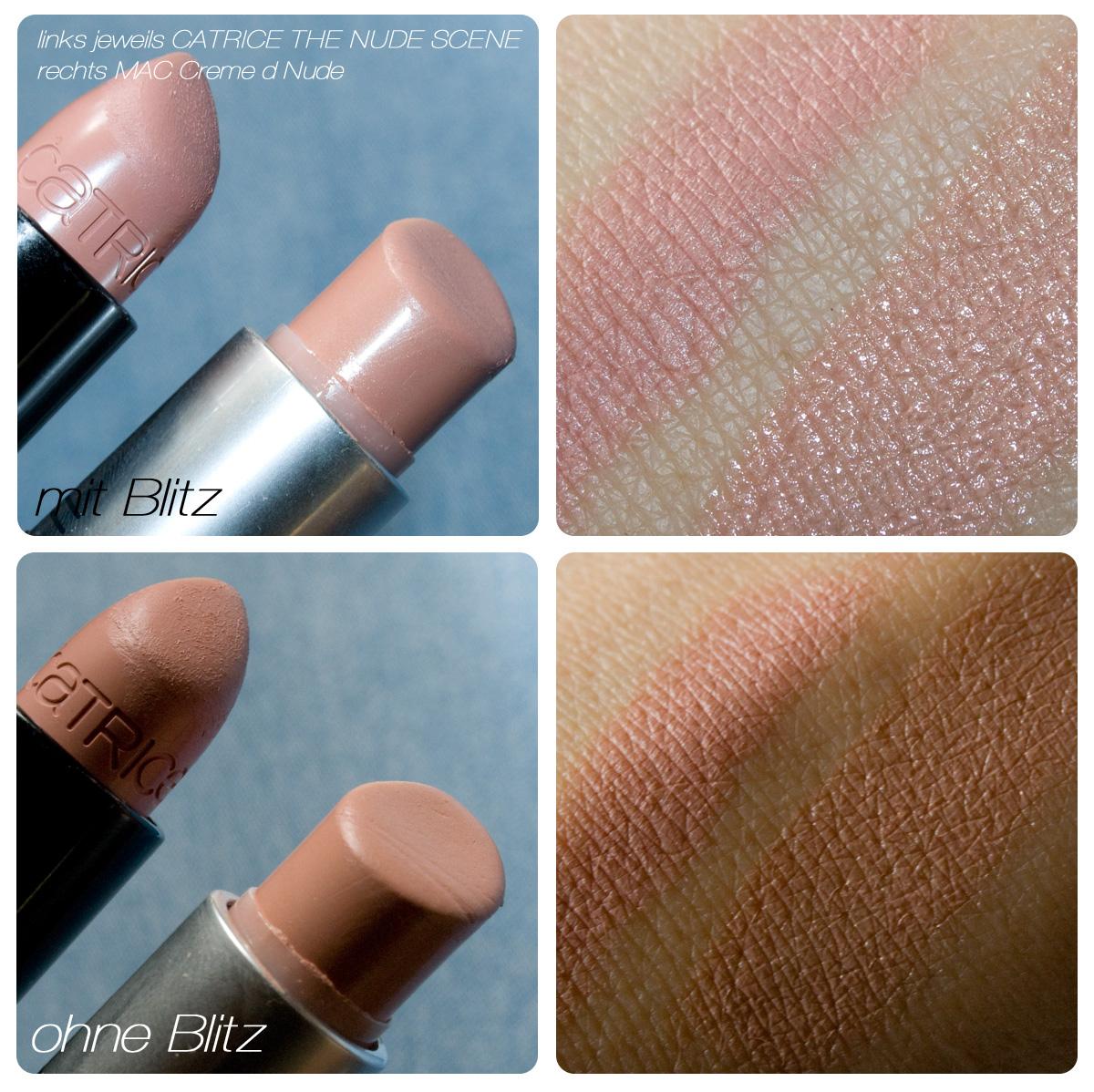 "CATRICE Limited Edition ""Fabulous 40s"" (fabulous 40ties) Herbst 2012 Velvet Lip Colour | Lippenstift C04 THE NUDE SCENE im Vergleich mit dem MAC ""Creme d'Nude"""