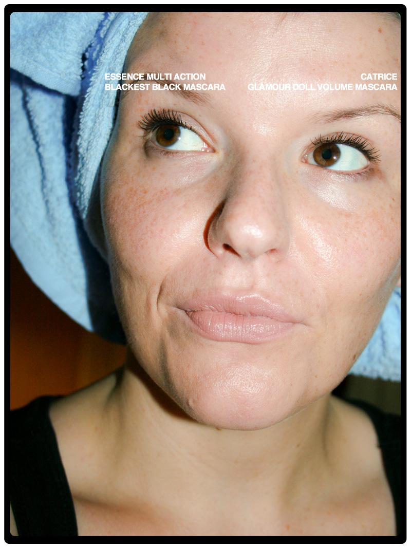 """Tragefoto Wimperntusche: Die """"essence blackest black""""-Mascara im Vergleich zur """"CATRICE Glamour Doll Volume""""-Mascara"""