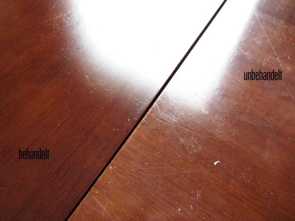 """Vorher-nachher-Foto Schreibtischplatte aus Holz mit Möbelpolitur """"Poliyboy"""""""