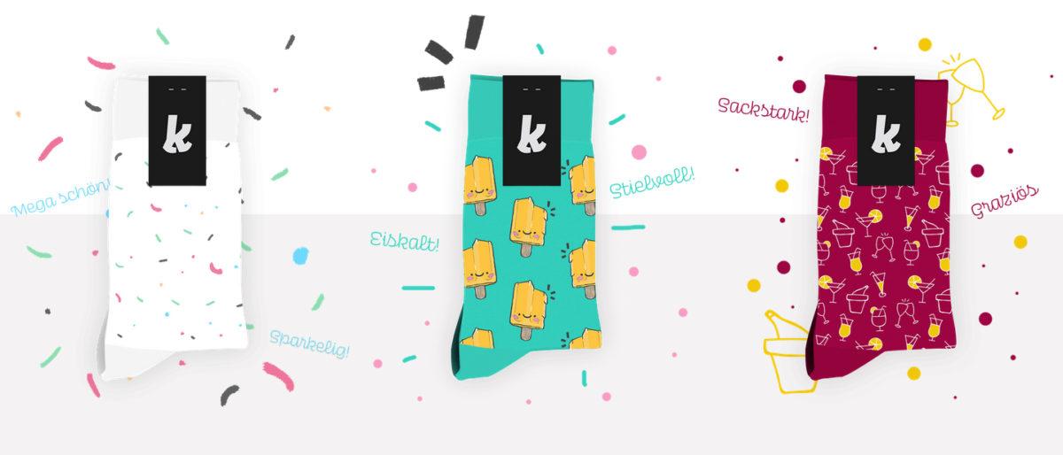 Coole Socken Design: Ananas, Donut Streusel, Eis am Stiel